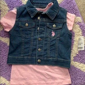US Polo Assn shirt/ jean vest combo